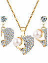 Pentru femei Seturi de bijuterii Ștras De Bază Nuntă Petrecere Ocazie specială Zilnic Casual Imitație de Perle Ștras Aliaj Inimă 1 Colier