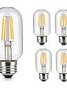 5pcs 4W 360lm lm E26/E27 Bec Filet LED T45 4pcs LED-uri de margele COB Decorativ Alb Cald Alb Rece 220V-240V