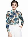 Damă Stil Nautic Bluză Casul/Zilnic Muncă Chinoiserie,Imprimeu Manșon Lung Primăvară Vară-Subțire Poliester