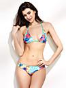 Pentru femei Floral Halter Bikini Costume de Baie Floral Albastru