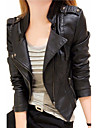 Women\'s Going out Casual/Daily Sexy Spring/Fall Leather Jacket,Solid Simple Notch Lapel Long Sleeve Short Faux Leather