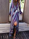 Pentru femei Plajă Boho Sleeve Flare Teacă Rochie - Imprimeu În V Maxi