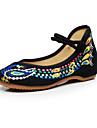 Damă Oxfords Vară Toamnă Confortabili Noutăți Pantofi brodate Pânză Outdoor Birou & Carieră Casual Rochie Toc Plat Toc Gros Cataramă Flori