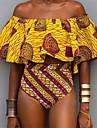 Pentru femei Boho Bikini - Imprimeu, Geometric De Pe Umăr Talie Înaltă Bustieră Fașă Elastică