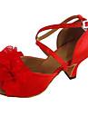 Pantofi de dans latino personalizat pentru tocuri roșii pantofi pentru dansuri de tip toe cu flori