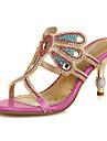 Pentru femei Pantofi Piele / Microfibre Vară / Toamnă Confortabili / Noutăți / Pantof cu Berete Sandale Plimbare Toc Stilat Vârf deschis