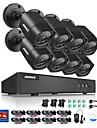 Annke® 8ch 8pcs 720p videokamera hd 4in1 dvr ip-nätverk hemövervakningssäkerhet cctv system