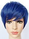 Femme Homme Perruque Synthetique Court Droite Bleu clair Perruque Naturelle Perruque Halloween Perruque de carnaval Perruque Deguisement