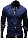 Bărbați Cămașă Casul/Zilnic Muncă Elegant Plus SizeMată Imprimeu Plisat Manșon Lung Bumbac