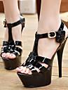Pentru femei Pantofi PU Primăvară / Vară Pantof cu Berete Tocuri Alb / Negru / Rosu
