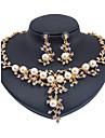 Seturi de bijuterii Imitație de Perle La modă Euramerican Clasic Imitație de Perle Ștras Flower Shape Auriu 1 Colier 1 Pereche de Cercei