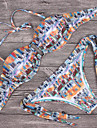 Bikini Cu Susținere Floral Geometrică Acrylic Spandex