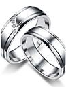 Dam Par Kubisk Zirkoniumoxid Kubisk Zirkoniumoxid Parringar Ring Bandring - Rund prinsessa Klassisk Minimalistisk Stil Titanium Ringa Till