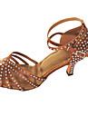 Pentru femei Pantofi Dans Latin Satin Sandale Interior Piatră Semiprețioasă Toc Personalizat Personalizabili Pantofi de dans Auriu /