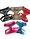 Cat Dog Harness Breathable Safety Plaid/Check Classic Fabric Net Black Brown Red Blue Pink