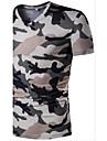 Bărbați În V Tricou Casual Activ,Culoare Camuflaj Manșon scurt Vară-Subțire Poliester