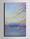 HANDMÅLAD Blommig/Botanisk Vertikal,Retro En panel Kanvas Hang målad oljemålning For Hem-dekoration
