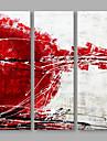 Peint a la main Abstrait Format Vertical,Artistique Trois Panneaux Toile Peinture a l\'huile Hang-peint For Decoration d\'interieur