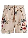 Damă Vintage Boho Șic Stradă Talie Înaltă,Micro-elastic Zvelt Pantaloni Chinos Pantaloni Scurți Pantaloni Poliester Floral Bloc Culoare