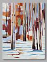 Peint a la main Abstrait Format Horizontal, Abstrait Moderne/Contemporain Toile Peinture a l\'huile Hang-peint Decoration d\'interieur Un