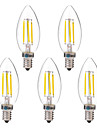 BRELONG® 5pcs 4W 350 lm E14 Bec Filet LED C35 4 led-uri COB Alb Cald Alb AC 220-240 V