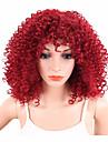 Parrucche sintetiche Riccio Afro Parrucca riccia stile afro Rosso Per donna Senza tappo Parrucca naturale Corto Capelli sintetici