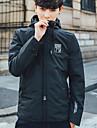 Bărbați Capișon Jachetă Casual Simplu,Mată Manșon Lung Primăvară Vară-Regular Poliester