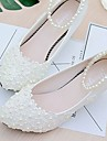 Women\'s Shoes Lace PU Spring Fall Slingback Wedding Shoes Low Heel Pointed Toe Round Toe Beading Imitation Pearl Appliques Flower for