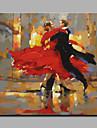 HANDMÅLAD Människor Fyrkantig, Konst Dekor / Retro Duk Hang målad oljemålning Hem-dekoration En panel