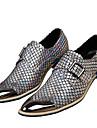 Bărbați Pantofi Nappa Leather Toamnă Iarnă Pantofi formale Oxfords Vârf Metalic Pentru Casual Rochie Party & Seară Auriu Argintiu
