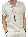 Men's Sports Basic / Chinoiserie Linen T-shirt - Solid Colored V Neck / Short Sleeve / Summer