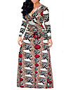 Damă Ieșire Casul/Zilnic Sexy Vintage Șic Stradă Swing Rochie-Imprimeu Manșon Lung În V Maxi Poliester Primăvară Toamnă Talie Inaltă