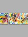 Pictat manual Abstract Orizontal,Artistic Trei Panouri Canava Hang-pictate pictură în ulei For Pagina de decorare