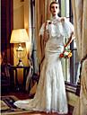 Trompetă / Sirenă In Formă de Inimă Trenă Court Dantelă Rochie de mireasă cu Aplică Buton de LAN TING BRIDE®