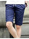 Bărbați Zvelt Simplu Talie Medie,Micro-elastic Pantaloni Scurți Pantaloni Bloc Culoare