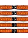 Ziqiao 10pcs 12v Indicatoare de margine laterale 6labile lampa lampa pentru camion camion camion autobuz 6 autobuz galben / alb / rosu