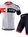 cheji® Herr Kortärmad Cykeltröja med shorts - Vit Svart Cykel Klädesset, Snabb tork