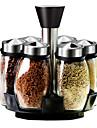 7 set cuisine verre assaisonnement pot condiment boite avec piedestal