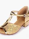 Copii Pantofi de Dans pentru Copii Sclipici Spumant Paillertte Piele PVC Călcâi Înăuntru Sclipitor Paiete Toc Jos Auriu Argintiu
