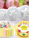 3 pcs / set pentagramme etoile gateau cutter piston pate fondant sugarcraft outil de decoration