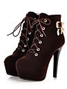 Damă Pantofi Piele nubuc Primăvară Vară Confortabili Noutăți Cizme la Modă Ghete Cizme Toc Stiletto Vârf rotund Cizme/Cizme la Gleznă