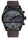 Bărbați Ceas de Mână Japoneză Calendar / Cronograf / Rezistent la Apă Piele Autentică Bandă Lux / Vintage / Casual Negru / Albastru / Maro