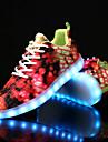 Dam Skor Kanvas Vinter Höst Komfort Lysande skor Sneakers Platt klack Rundtå Djurtryck LED Snörning för Casual Fest/afton Orange Purpur