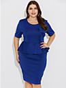 Pentru femei Mărime Plus Size Muncă Ieșire Șic Stradă Bodycon Rochie - Ruched, Mată Talie Inaltă Lungime Genunchi Albastru