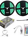 HKV Ljusuppsättningar 600 lysdioder RGB Klippbar Bimbar Vattentät Färgskiftande Självhäftande Kopplingsbar 110-220V