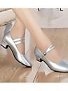 בגדי ריקוד נשים נעליים מודרניות עור עקבים נעלי ריקוד שחור / כסף / אימון / EU40