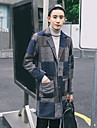 Bărbați Rever Peaked Palton Casul/Zilnic Simplu,Imprimeu Manșon Lung Iarnă-Lung Altele