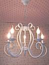 medelhavsstil vit järnkonst ljus enkel kreativ ljuskrona vardagsrum matsal lampa studie gren lampor