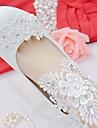 Femme Chaussures Dentelle / Similicuir Printemps / Automne Confort Chaussures de mariage Bout rond Strass / Noeud / Appliques Blanc