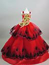 Petrecere/Seară Rochii Pentru Barbie Doll Roșu+auriu Rochii Pentru Fata lui păpușă de jucărie